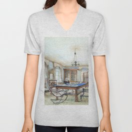 Franz Alt - Biedermeier interior with a man seated at a table - Digital Remastered Edition Unisex V-Neck