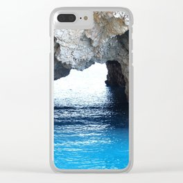 Rocks created a natural arch over crystal blue water Clear iPhone Case