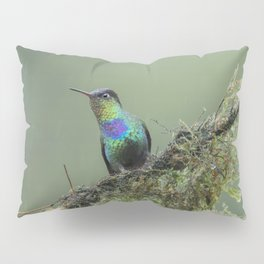 Costa Rican Fiery-throated Hummingbird in the rain Pillow Sham