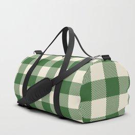 Buffalo Plaid Rustic Lumberjack Green and White Check Pattern Duffle Bag