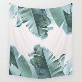 Blue Tropical Banana Leaf Plant Wall Tapestry