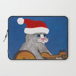Christmas Cat Playing a Guitar and Wearing a Santa Hat Laptop Sleeve