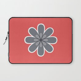 Symmetrical floral pattern, grey and coral red geometric flower Laptop Sleeve