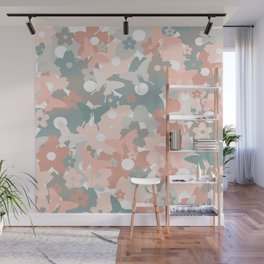Floral Butterflies Pattern, Coral, Blush Pink and Teal Wall Mural