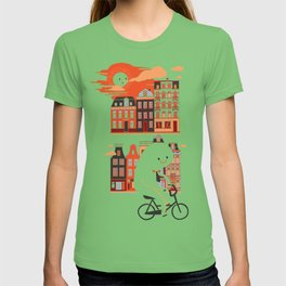 Happy Ghost Biking Through Amsterdam T-shirt