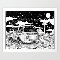 Moon Ride Black and White Art Print