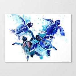 Sea Turtles, Marine Blue underwater Scene artwork Canvas Print