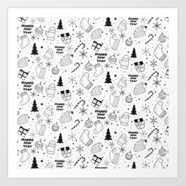 New Year Christmas winter holidays pattern with gifts, candys, christmas tree and toys, santa hat, s Art Print
