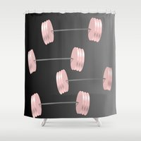 workout Shower Curtains featuring I Workout by Trippin Up