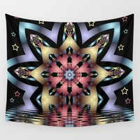 fairy tale Wall Tapestries featuring Fairy-tale stars lake by thea walstra
