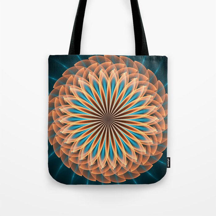 Floral mandala in orange and blue Tote Bag