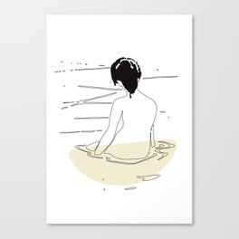 Nude Woman Geisha Japanese Line Art Drawing Erotic Naked Body Water Canvas Print