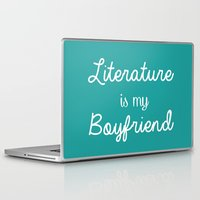 literature Laptop & iPad Skins featuring Literature is my boyfriend teal by Beautiful Bibliophile's Boutique