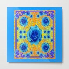 Art Nouveau Blue-golden Roses Abstract Design. Metal Print