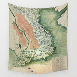 Yuenan Quan Jing Yu Tu (Map of Vietnam circa 1885) Wall Tapestry