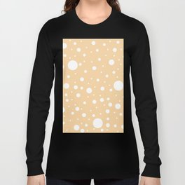 Mixed Polka Dots - White on Sunset Orange Long Sleeve T-shirt