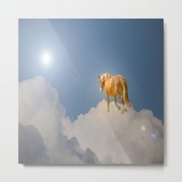 Walking on clouds over the blue sky Metal Print