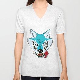 Who's Afraid of the Big Blue Wolf Unisex V-Neck