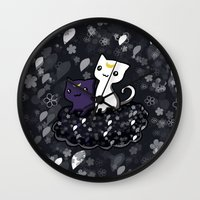 sailormoon Wall Clocks featuring Sailormoon Luna and Artemis by Mayying