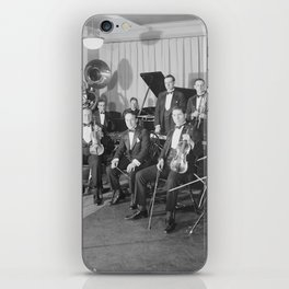 Vintage black and white photo of orchestra iPhone Skin