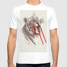 Light Saber Tooth Tiger White Mens Fitted Tee MEDIUM