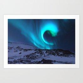 Aurora BorealiS Mountains Art Print