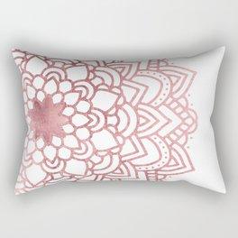 Elegant faux rose gold floral mandala Rectangular Pillow