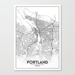 Minimal City Maps - Map Of Portland, Oregon, United States Canvas Print