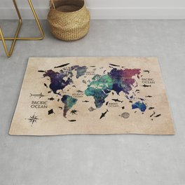 Oceans Life World Map #map #worldmap Rug