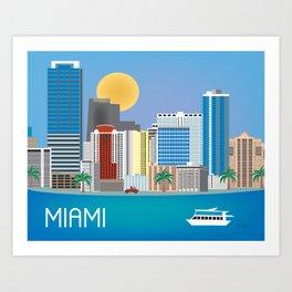 Miami, Florida - Skyline Illustration by Loose Petals Art Print