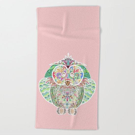 RAINBOW OWL Beach Towel