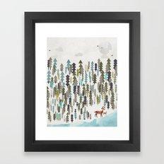the winter forest Framed Art Print