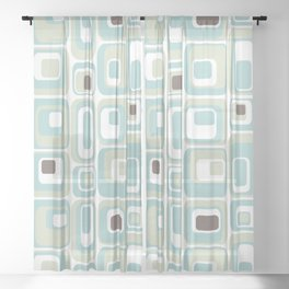 Retro Rectangles Mid Century Modern Geometric Vintage Style Sheer Curtain