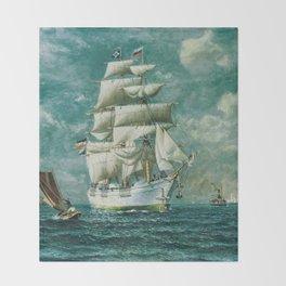 Vintage Large White Sailboat Painting (1895) Throw Blanket