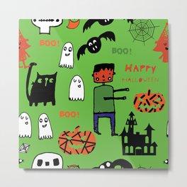 Cute Frankenstein and friends green #halloween Metal Print