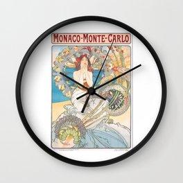 1897 Alphonse Mucha Monaco Monte-Carlo Poster Wall Clock
