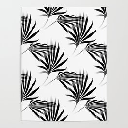 Palmetto Fronds Leaf Pattern Black and White Poster