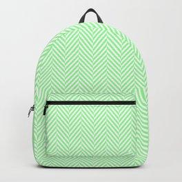 Classic Mint Green & White Herringbone Pattern Backpack