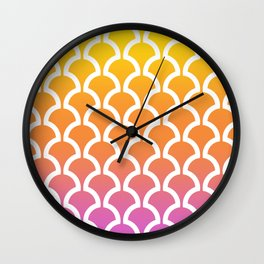 Classic Fan or Scallop Pattern 460 Yellow Orange and Magenta Wall Clock