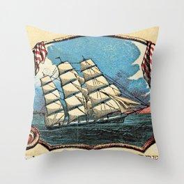 Bunker Hill Clipper Ship Card Throw Pillow