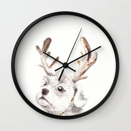 Christmas dog in antlers Wall Clock
