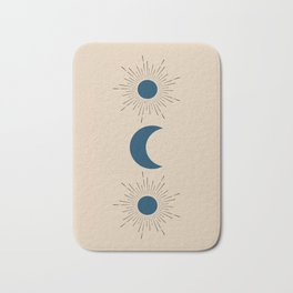 Blue Sun and Moon Bath Mat