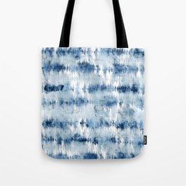 Modern hand painted dark blue tie dye batik watercolor Tote Bag