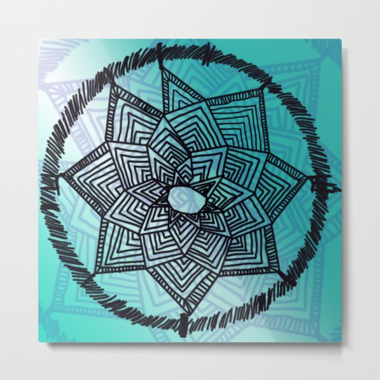 Turquoise Dream Catcher Metal Print
