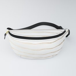 Simply Wavy Lines in White Gold Sands on White Fanny Pack