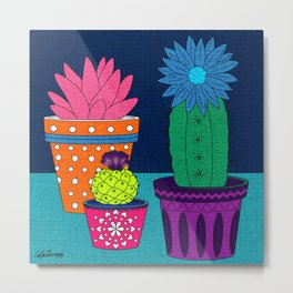 Fun With Coloring Knitted Cactus Metal Print