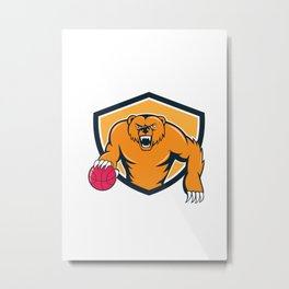 Grizzly Bear Angry Dribbling Basketball Shield Cartoon Metal Print