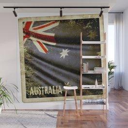 Grunge sticker of Australia flag Wall Mural