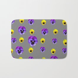 YELLOW & PURPLE PANSY FLOWERS ON CHARCOAL GREY Bath Mat