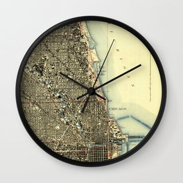 Chicago Colorful Map, vintage map year 1929 Wall Clock